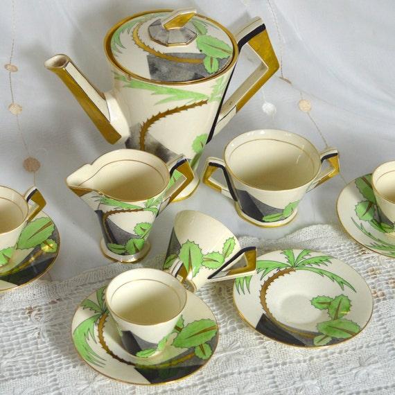 Rare 1930s Art Deco Coffee Set Soho Pottery Ambassador Ware