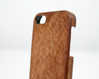 Iphone Leather Case Washed Aged for 7 6S and PLUS or SE 5S 4S to use as protection colour cognac