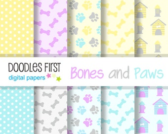 Pastels Bones and Paws Digital Paper Pack Includes 10 for Scrapbooking Paper Crafts