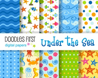 Under the Sea Digital Paper Pack Includes 10 for Scrapbooking Paper Crafts
