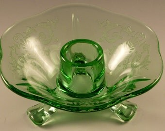 Fostoria Versailles Green Candle Holder Has Bubble On Rim 3 Footed Elegant Candleholder Candlestick Vintage Glassware Etched Crystal Etch