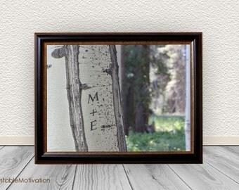 Custom Tree Initials Wall Art, Entryway Decor, Inital Photos,  Tree Carved Initials tree, Aspen Photo