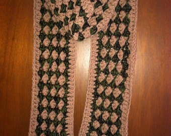 Long Taupe/Green/Black scarf
