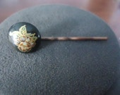 Black Enamel with Painted Flower Hair Accessory Made from Vintage Clip-on Earring.