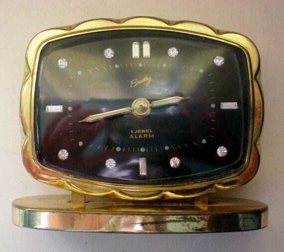 German Alarm Clock with Rhinestone Numerals by Bradley - 3286