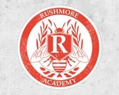 Rushmore Academy Crest  Sticker - Inspired by the Wes Anderson film -  original artwork - Jason Schwartzman Max Fischer Bill Muray