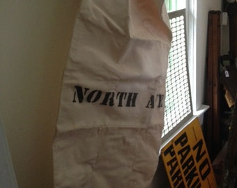 Vintage Very Large Thick Canvas Mail Bag From Chicago North Ave Station, With Tie String, Excellant Condition