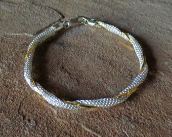 Sterling Silver Gold Dipped Twisted Two Tone Bracelet/Chainmaille 7inch  Bracelet/Bridesmaids Bracelet/Mixed Metals