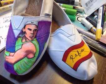 Custom Rafa Nadal artwork on Toms shoes