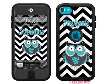 Monogram Personalized OTTERBOX DEFENDER for iPod Touch 5th iTouch 5 Black White Chevron Owl Name Device Case