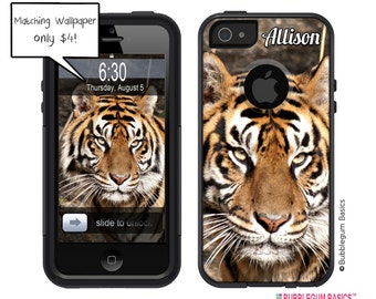 Custom OTTERBOX COMMUTER Personalized Monogram for iPhone 5 5S 4 4S Samsung Zoo Tiger Animal Print Stripes FUN Phone Case