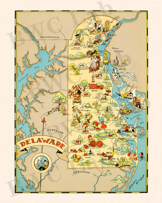 Pictorial Map of Delaware colorful fun illustration of by FunMaps – Delaware Tourist Attractions Map