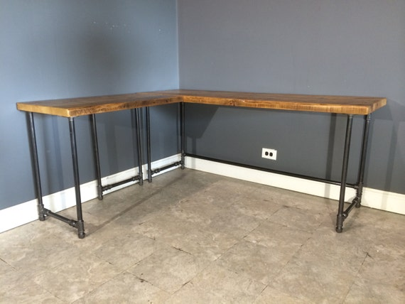 Items similar to salvaged reclaimed l shaped wood desk for Ikea sofa legs interchangeable