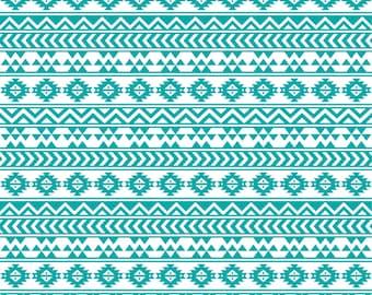 Teal and white tribal pattern craft  vinyl sheet - HTV or Adhesive Vinyl -  Aztec Peruvian pattern HTV905