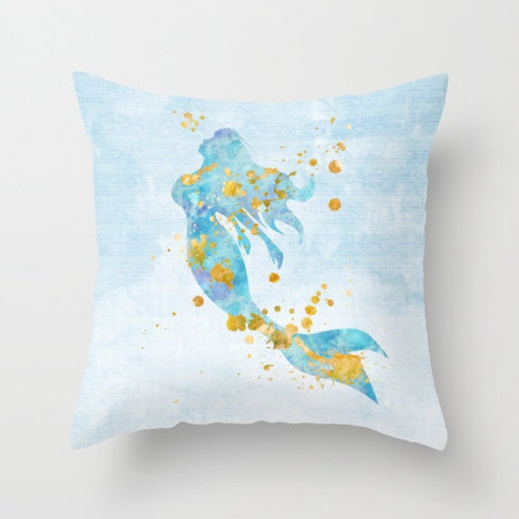 Mermaid Pillow Mermaid Throw Pillow Mermaid by MiaoMiaoDesign