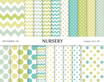 Nursery Digital Paper, Digital Paper Pack of 20 papers, Green and blue Scrapbook paper supplies  - BR 258