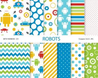 Robot paper pack, robot digital paper, robot party paper, scrapbook paper, digital backgrounds - BR 319