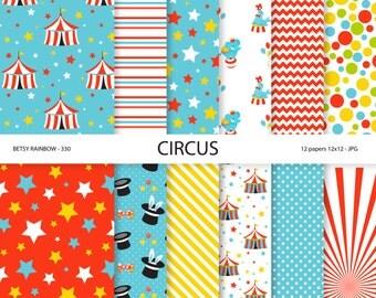 Circus paper pack, circus digital paper, circus party paper, scrapbook paper, carnival, circus - BR 330