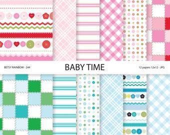 Baby Digital Paper, baby boy, baby girl digital papers in blue and pink, Baby digital papers - BR 344