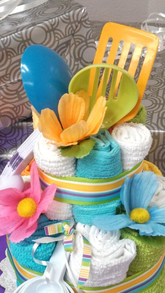 Items Similar To Kitchen Essentials Towel Cake Bridal
