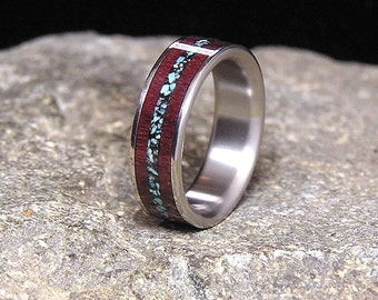 Purpleheart Wood Turquoise Inlay Titanium Wedding Band or Ring