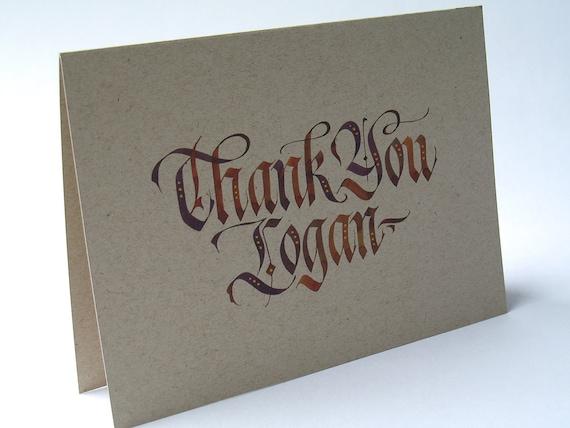 Custom thank you card calligraphy