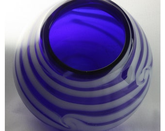 Closed Cobalt Blue Bowl with Opaque White Swirls and Lines, Hand Blown Glass Bowl - Free Shipping
