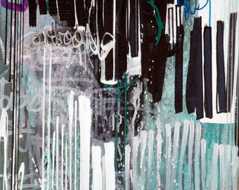 """16""""x24"""" Original Abstract Street Art Inspired Painting on Canvas Purple Turquoise Black and White"""