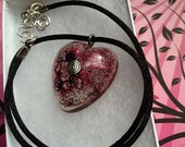 Heart Resin Pendant Choker Necklace on Silk Round Ribbon (Reserved for Adrienne)
