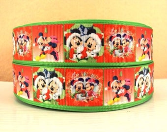 5 YDS Mickey and Minnie Red and Green Holiday Ribbon