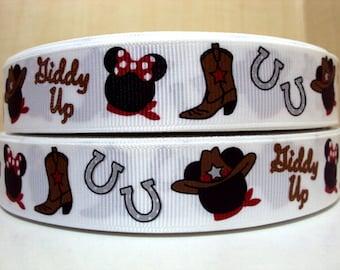 5 YDS Mickey and Minnie Giddy Up Western Cowboy Ribbon