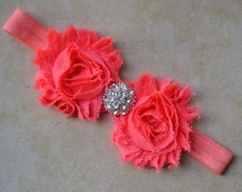 Coral / pink / salmon shabby chic rosette flower elastic newborn - baby - toddler - adult headband with fancy rhinestone center