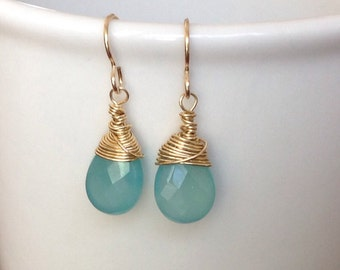 Chalcedony Gold Wire Wrapped Earrings by MB