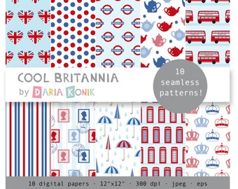 "Cool Britannia Digital Paper Pack-Britain, England, Union Jack, London,crowns, teapots, scrapbooking, eps, jpeg, 12"" x 12"", instant download"
