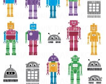 Robots Clip Art Set-robot clipart, colorful, for children, robot vector, eps, png, jpeg, instant download