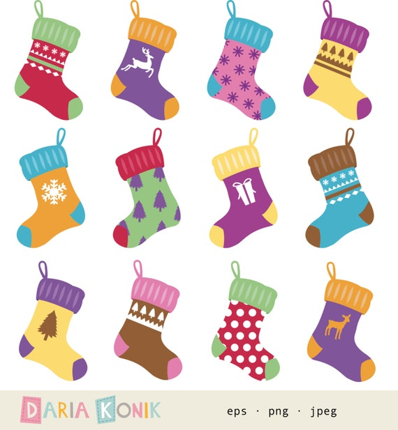 Christmas Stockings Clip Art Set- instant download, stockings clipart ...