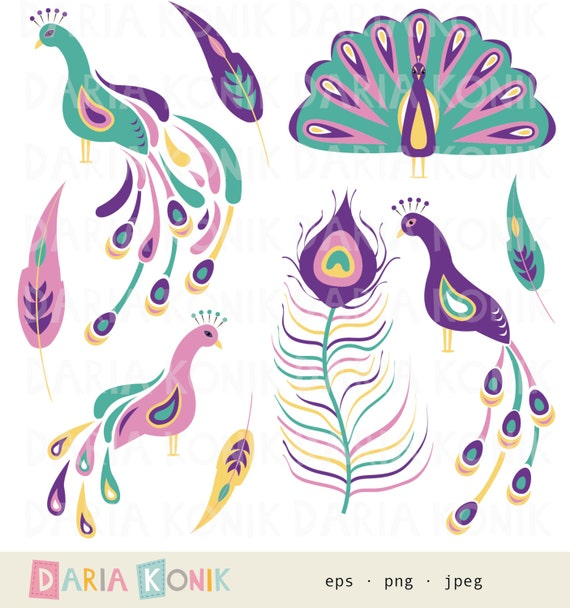 Peacock Clip Art Set-peacocks feathers digital design pink