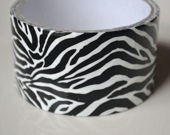Zebra Print Duct Tape / Animal Print Duct Tape / Black and White Duck Tape / 1 Roll/ Fun Colors/ Pattern Duct Tape