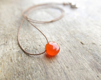 Carnelian necklace. Minimalist necklace with a small carnelian faceted coin briolette. Minimal choker with small carnelian faceted pendant