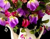 Floral Arrangement, Centerpiece, Spring Bouquet, White Tea Pot, Coffee Pot, Silk Floral Centerpiece Pink Purple Green.