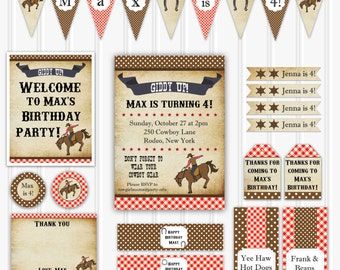 Vintage Cowboy Birthday Party Set INSTANT DOWNLOAD Rodeo Birthday Invitation, Cowboy Decorations, Printable Party Decoration, Party Kit