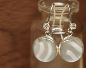 Starbucks silver earrings with sterling silver, resin and cubic zirconia. Made from recycled, upcycled  gift cards.