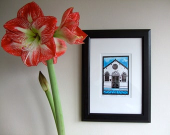 Lino print church, handmade painted lino print of 't Mosterdzaadje, Santpoort-Noord, Holland, limited edition. Mounted, unframed.