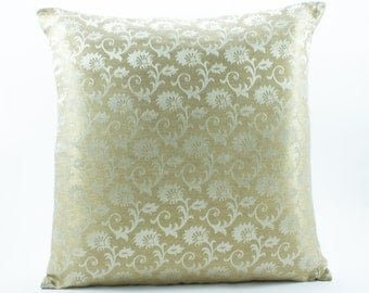 Gold Silk Pillow cover 16x16, Decorative throw pillows, White on gold Accent Pillow.