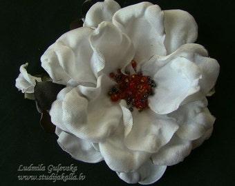 Handmade white satin flower brooch flower clip & pin
