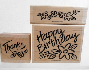 Stampin Up Bold Blossom Greetings Incomplete Set of  rubber stamps