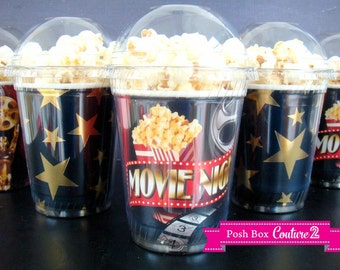 Movie Night themed Popcorn Boxes with dome lid. Birthday Party, Sleepover