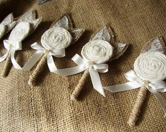 Ivory Wedding Boutonniere, Mens Boutonniere, Rustic Boutonnieres, Burlap Lace Corsage, Mens Brooch Boutonniere, Fall Grooms Lapel, Boutineer