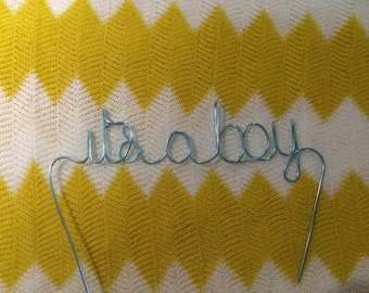 "Custom Made Wire Cake Toppers - Baby Shower ""its a boy"""
