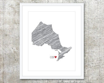 Ontario Province Art Print - Custom Canadian Province Poster - Ontario ON Canada Province Poster - Slate Grey Red Heart - Modern Wall Art